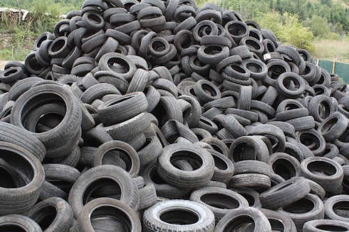 Pile Of Tires To Recycle